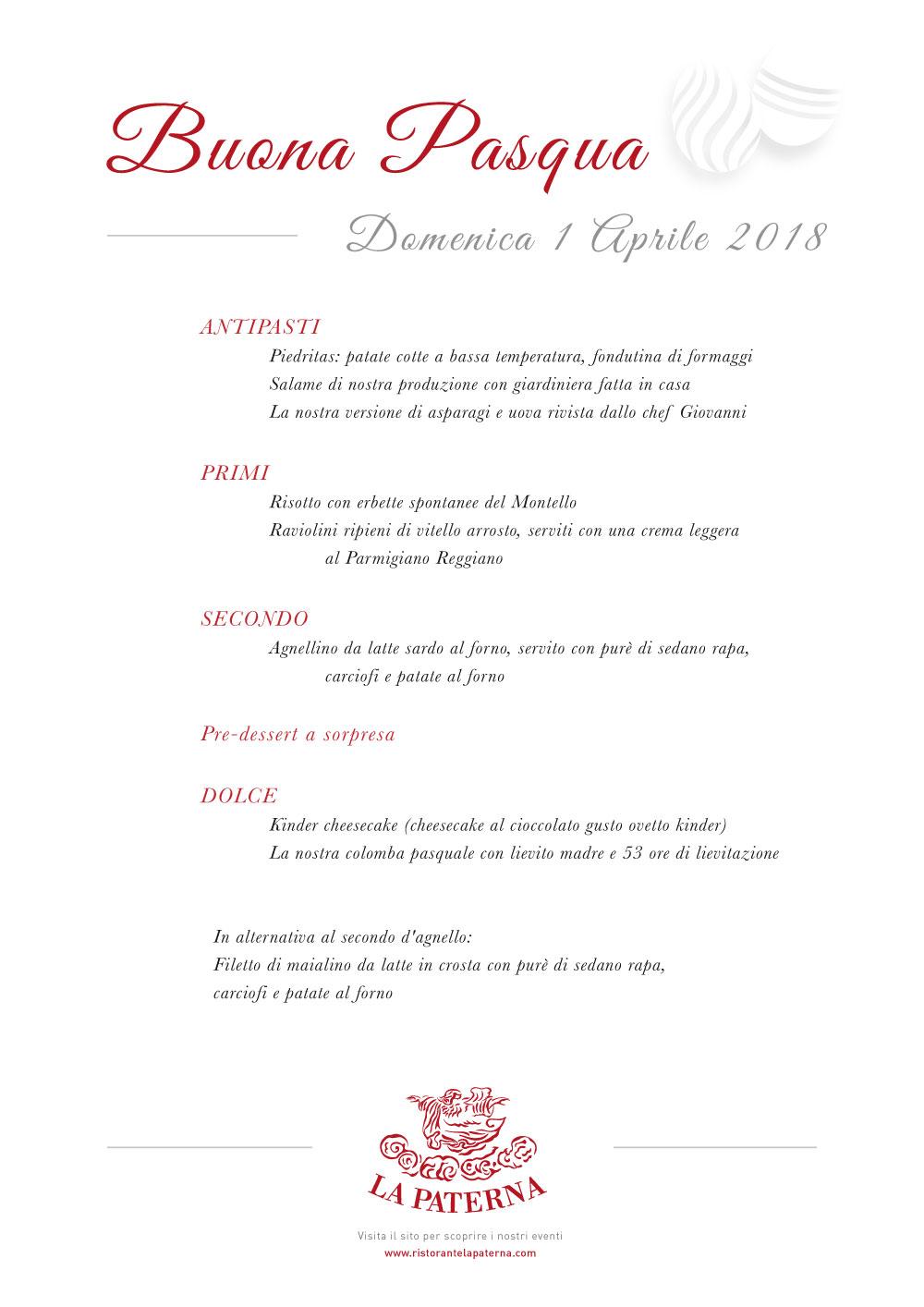 Menu Pasqua 2018 - La Paterna